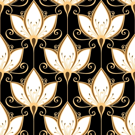 art deco background: Seamless Floral Pattern  Vector   Hand Drawn Texture with Flowers