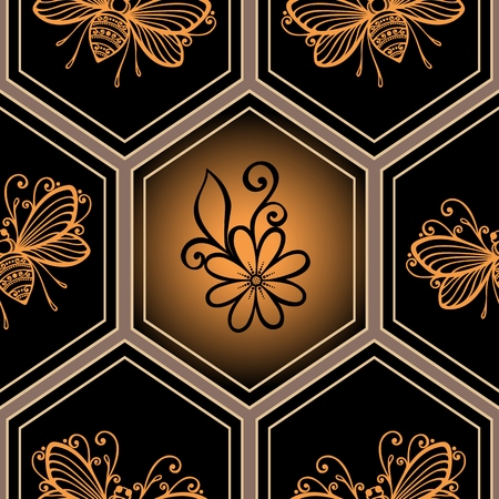 Seamless Ornate Pattern with Honeycombs  Vector  Vector