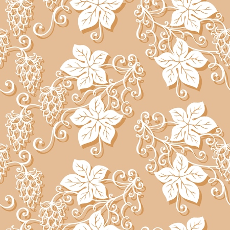 Seamless Ornate Floral Pattern with Hop  Vector  Vector