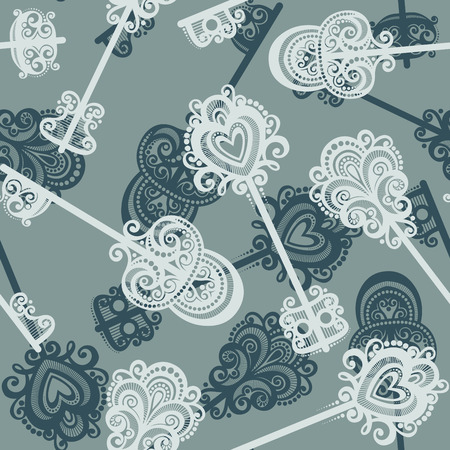 Seamless Ornate Pattern with Keys  Vector  Vector
