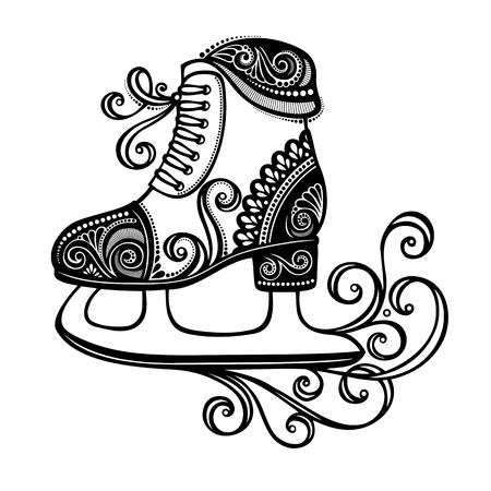 ICE RINK: Beautiful Ornate Winter Skates  Vector , Patterned design