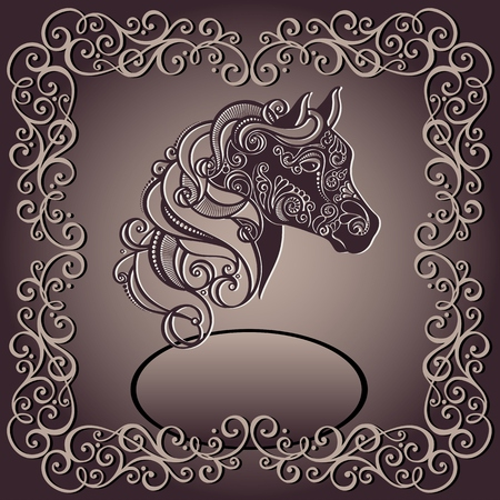 horsehair: Christmas Greeting Card  Vintage Card with Decorative Horse with Patterned Mane  Illustration