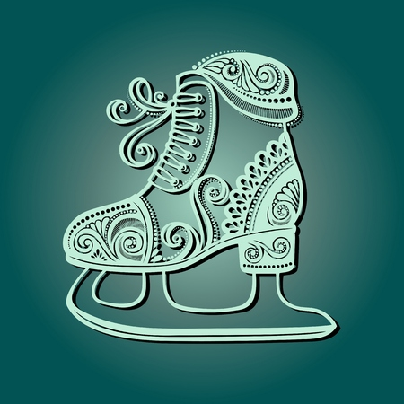 Beautiful Ornate Winter Skates  Vector , Patterned design Vector