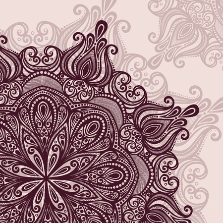 Vector Colored Ornate Hand Drawn Texture with Beautiful Mandala Vector