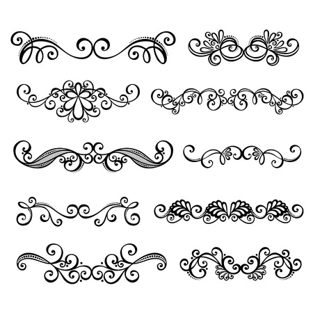 Vector Set  Calligraphic Borders and Page Decoration