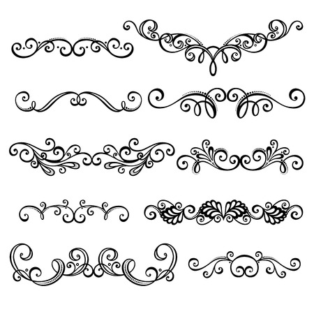 scroll design: Vector Set  Calligraphic Borders and Page Decoration