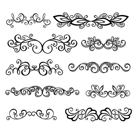 page border: Vector Set  Calligraphic Borders and Page Decoration