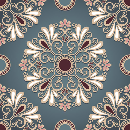 Seamless Ornate Pattern  Vector   Hand Drawn Vintage Texture with Round Element Vector