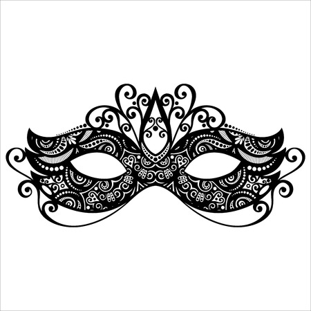 black mask: Beautiful Masquerade Mask  Vector , Patterned design Illustration