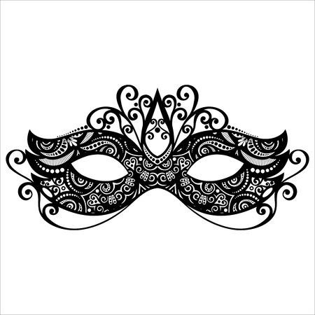 maski: Piękne Masquerade maska wektorowa, projektowanie ornamentowe Ilustracja