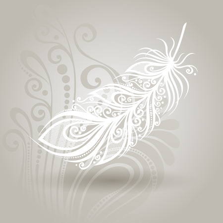 Vector Template with Peerless Feather on Ornate Background  Collection Vettoriali
