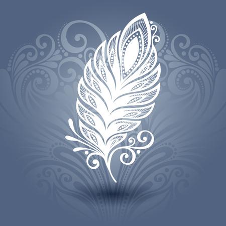 tatouage oiseau: Vector mod�le avec la plume Peerless fleuri Collection de fond Illustration