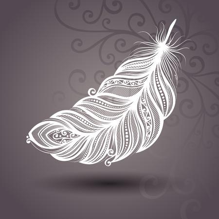 feather: Plantilla de vectores con la pluma de Peerless en fondo adornado Colecci�n