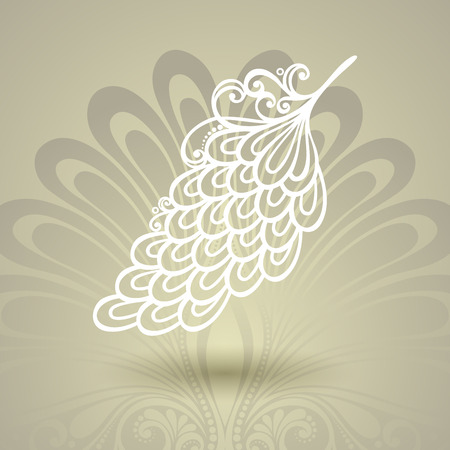 peerless: Vector Template with Peerless Feather on Ornate Background  Collection Illustration