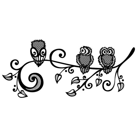 owlet: Three Owls on Ornate Branch  Vector   Tattoo Design