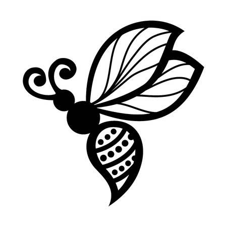 Vector Beautiful Bee, Exotic Insect  Patterned design, Tattoo Vector