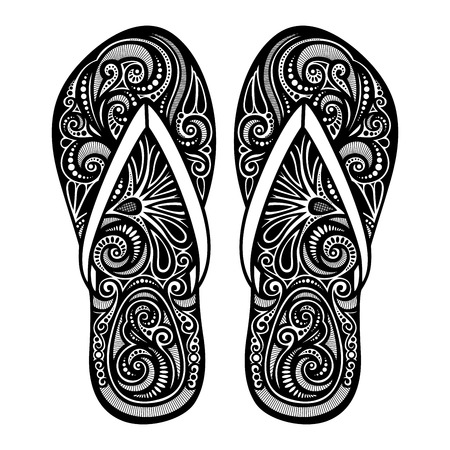 Vector Decorative Ornate Women s Slippers Vector