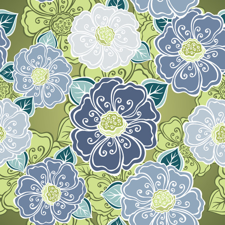Seamless Floral Pattern  Vector   Hand Drawn Texture with Flowers Vector
