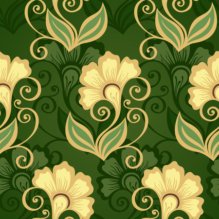 burgeon: Seamless Floral Pattern  Vector   Hand Drawn Texture with Flowers