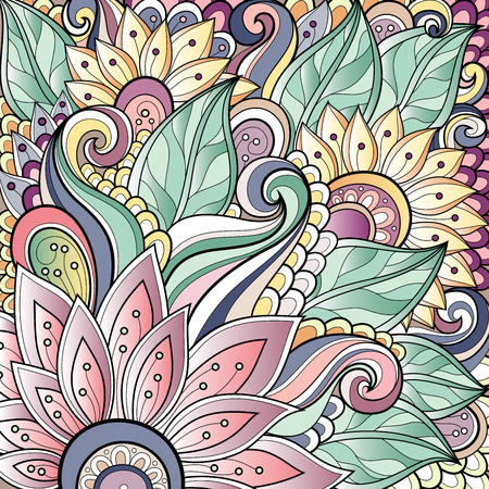 foursquare: Vector Colored Floral Background  Hand Drawn Texture with Flowers Illustration