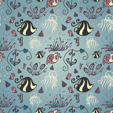 Vector Ornate Sea Seamless Pattern  Set of Sea Flora and Fauna Vector