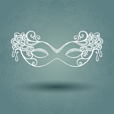 venice carnival: Beautiful Masquerade Mask  Vector  on Ornate Background