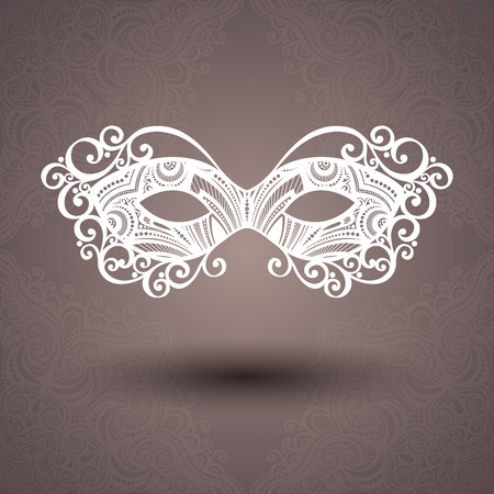 venetian: Beautiful Masquerade Mask  Vector  on Ornate Background