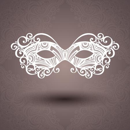 carnival girl: M�scara de la mascarada Hermosa vector en el fondo adornado Vectores