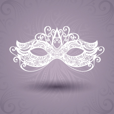 carnival costume: Beautiful Masquerade Mask  Vector  on Ornate Background