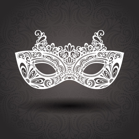 Beautiful Masquerade Mask  Vector  on Ornate Background Vector