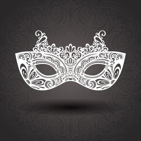 Bella Masquerade Mask vettoriale su sfondo ornato Archivio Fotografico - 29778439