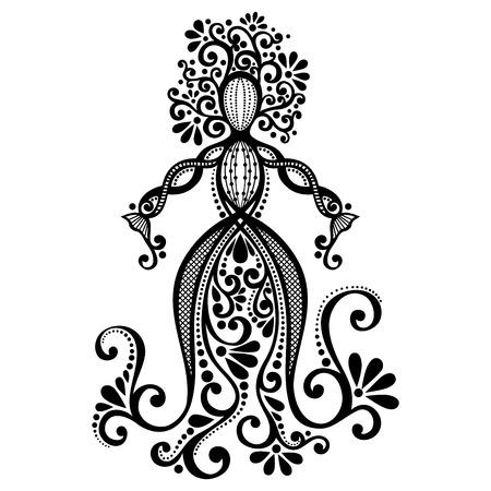 Vektor Handzeichnung Silhouette der Blumengöttin Gemusterte Design- Vektorgrafik