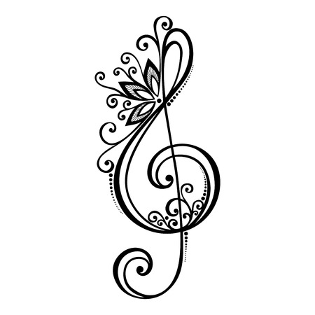 Vector Floral Decorative Treble Clef  Patterned Musical Sign Vector