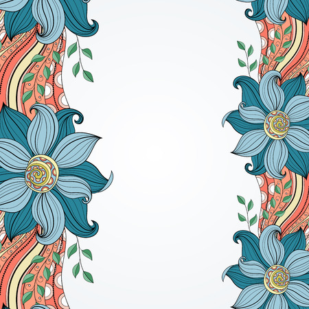 burgeon:  Colored Floral Hand Drawn Texture with Flowers