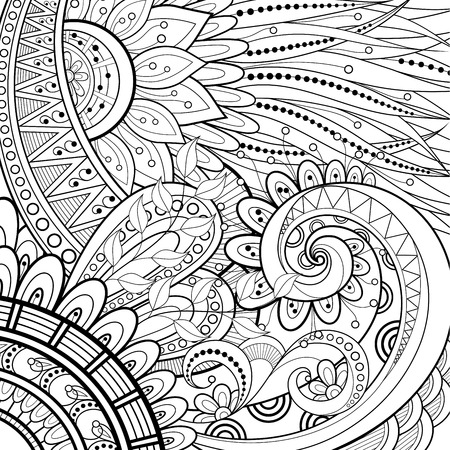 Monochrome Floral   Hand Drawn Texture with Flowers Vector