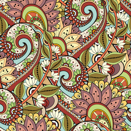 Seamless Floral Pattern     Hand Drawn Texture with Flowers Vector