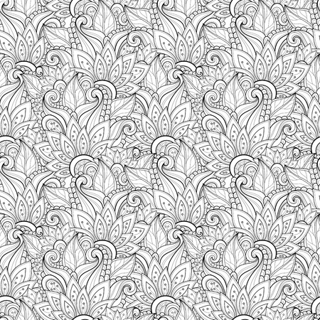 swirl patterns: Seamless Monochrome Floral Pattern  Vector   Hand Drawn Texture with Flowers Illustration