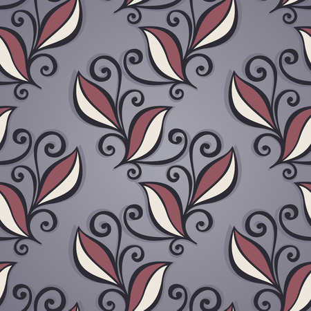 burgeon: Seamless Floral Pattern  Vector   Hand Drawn Texture with Leaves Illustration
