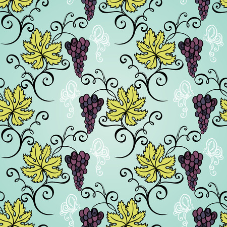 viticulture: Seamless Floral Pattern  Vector   Hand Drawn Texture with Grape