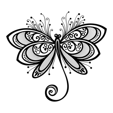 Vector Beautiful Dragonfly, Exotic Insect  Patterned design, Tattoo Vettoriali