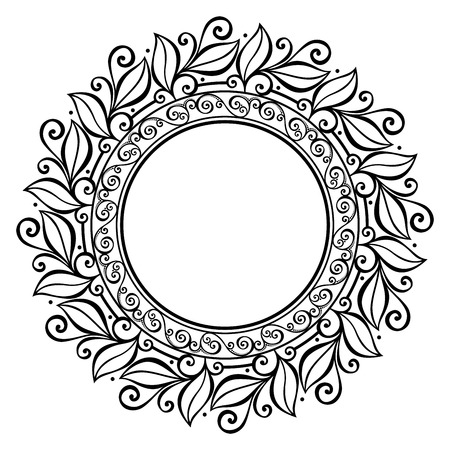 white napkin: Beautiful Deco Floral Circle  Vector , Patterned frame