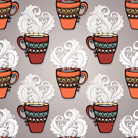 Seamless Pattern with Decorative Cups of Tea  Vector  Vector