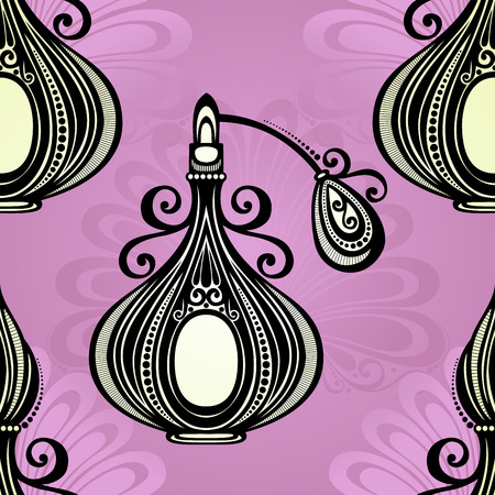 Vector Seamless Pattern with Decorative Ornate Perfume Vector