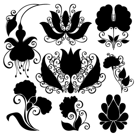 Vector Set of Flowers  Stencils Isolated on White Background Vector