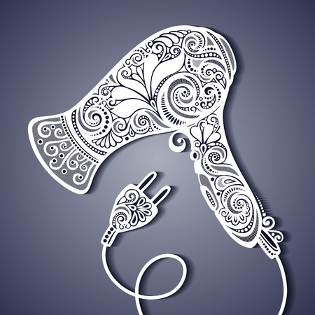 hair spa: Ornate Hairdryer. Vintage Design Illustration
