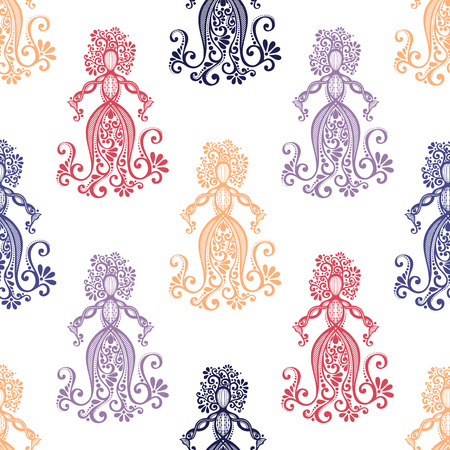 Seamless Pattern with Hand Drawing Silhouette of Floral Goddess Vector