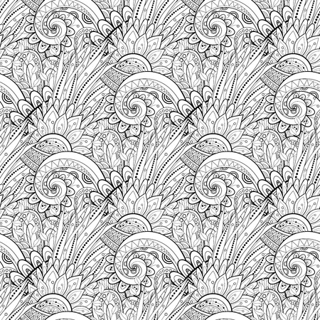 Seamless Monochrome Floral Pattern. Hand Drawn Texture with Flowers Vector
