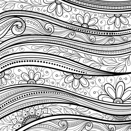 burgeon: Vector Monochrome Floral Background. Hand Drawn Texture with Flowers