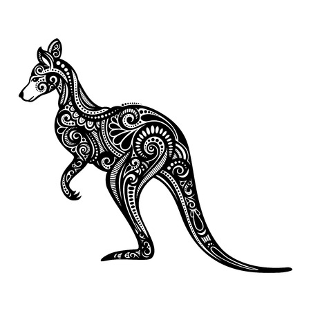 kangaroo: Vector Decorative Kangaroo. Patterned design