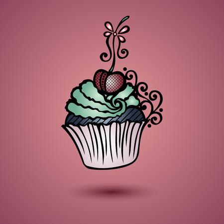 brownie: Vector Decorative Ornate Cake. Patterned design